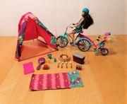 Barbie Familienfahrrad mit Campingausrüstung