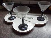 Martinigläser mit Tablett Leonard