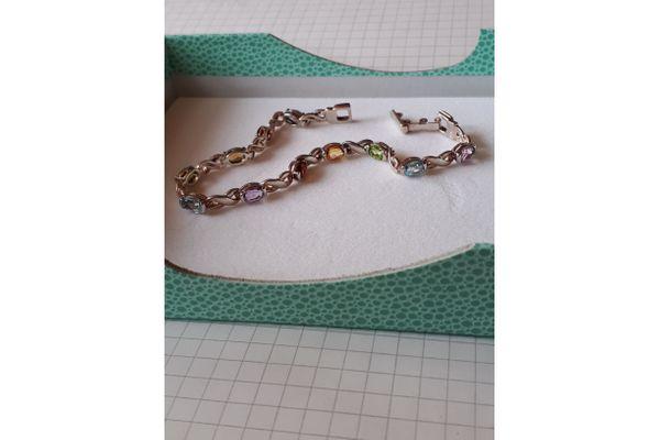 Edelstein-Armband 925er Silber 18 cm