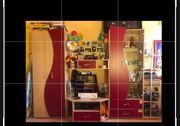 Jugendzimmer Wohnwand mit rot