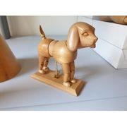 Modellhund Holz Modelltier Gliedertier Malervorlage