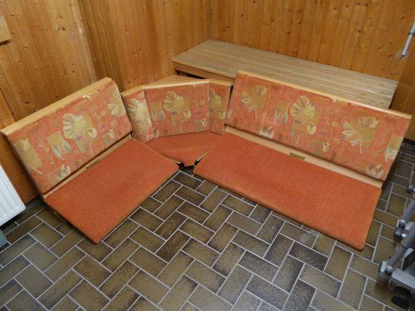 Eckbank Wössner, Buche, 2 Stühle, 1 Tisch, Truhen unter Sitz
