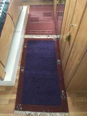 3 x Teppich Schurwolle rot-violett