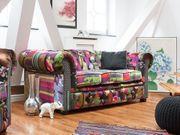 Sofa Polsterbezug Patchwork violett CHESTERFIELD