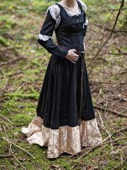 Mittelalter Fantasy Fasching Kleid schwarz