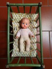 Puppenbett Stubenwagen Vintage Puppe selbstgebaut