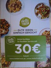 Tausche HELLO FRESH-Kochbox-Gutschein 30 -EUR