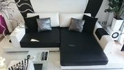Design Leder Sofa Wohnlandschaft schwarz