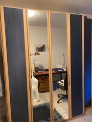 Kleiderschrank blau mit Spiegeltür