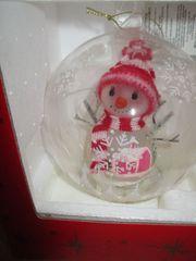 Weihnachtskugel Schneemann mit roter Kappe
