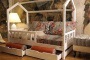 Weißes Kinder-Doppelbett mit Barrieren Schubladen