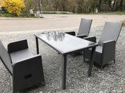 Gartensitzgruppe Polyrattan grau wetterfest