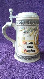 Bierkrug Krug mit Zinndeckel Moench