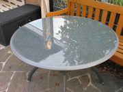 Aluminium Terassen Tisch Rund Glas