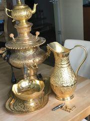Samowar persisch mit Zubehör vergoldet