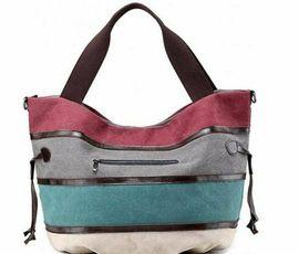 Bild 4 - Mehrfarbige Canvas-Hobo-Tasche Handtasche Schultertasche lässig - Gelsenkirchen Resse