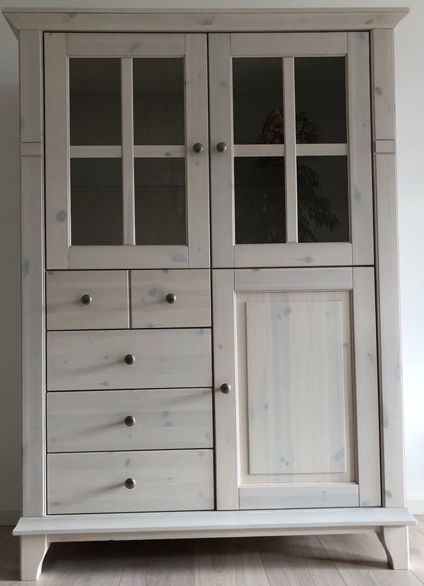 Highboard Vitrinenschrank Cupboard Glastüren Kiefer