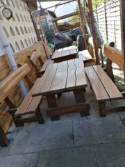 Masivholz Gartenmöbel Sitzganitur rustikal Holz