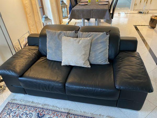Couch Sofa 3er / 2er Sitz in Leder schwarz ItalienDesign Belgien