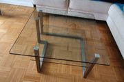 Wohnzimmer Couchtisch Glas Edelstahl