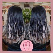 Grau Schwarze Haare Ombre mit
