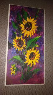 Ölbild Spachteltechnik Sonnenblumen