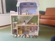Mädchentraum Holz-Puppenhaus mit Zubehör