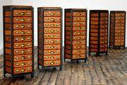 Schubladenschrank Bauhaus Loft Antik Apothekerschrank