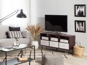 TV-Möbel dunkler Holzfarbton weiß FOSTON neu