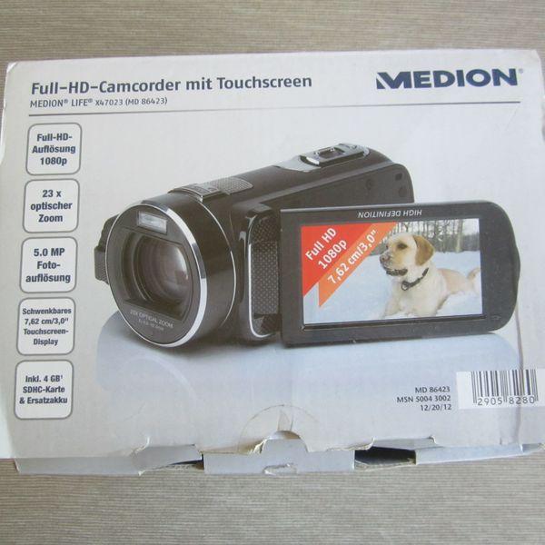 Full-HD- Camcorder mit Touchscreen - Schwerte - Full-HD-Camcorder von Medion Life X47023 ( MD 86423 )-Autofocus-Blende: F3,5 - F4,1-USB Anschluss-Gewicht: ca.374gPrivatverkauf keine Garantie -keine Rücknahme -kein Versand ins Ausland -Inseln -Packstationen!Versand möglich mit Hermes 4,95EU - Schwerte