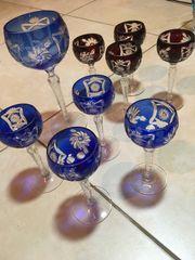 9 Bleikristallgläser in Blau und