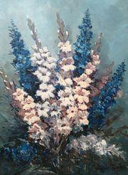 altes Gemälde Gladiolen mit Rittersporn
