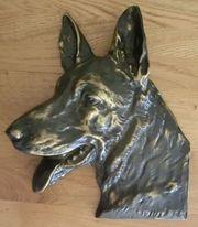Schäferhundkopf aus Bronze Schäferhund Relief