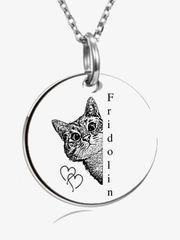 personalisierte Kette Edelstahl Katze mit
