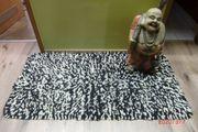 Wollteppich Fransen Teppich wolle schwarz