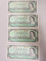 4 Kanadische 1 Dollarscheine 1967