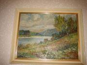 Ölbild am Rheinufer Severin ca