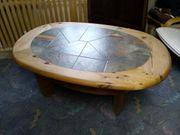 Couchtisch Oval Kiefer Fliesen Echtholz