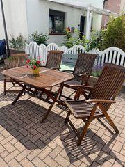 Gartenmöbel - Set Tisch 4 Hochlehner