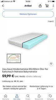 Kindermatratze 80x160cm Öko-Tex Kaltschaum Matratze