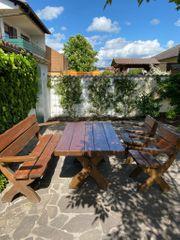 Rustikales Gartenmöbel-Set aus Fichtenholz
