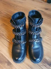 Damen Schwarze Stiefel Boots gr