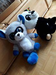 Plüschwaschbär und -panda mit Glubbschaugen