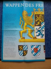 Karte - Wandkarte - Wappen des Freistaates