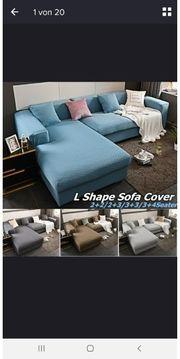 Sofabezug hellblau grau