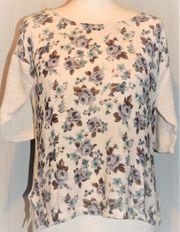 Dünner Pullover beige mit Blumenmuster