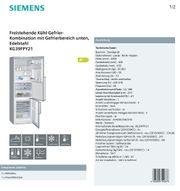 Freistehende Kühl-Gefrier-Kombination mit Gefrierbereich unten
