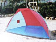 Strandmuschel Strandzelt Windschutz blau rot