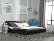Bett Kunstleder schwarz 180 x