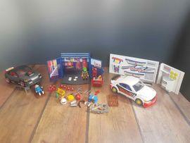 Große Playmobil Tuning Autowerkstatt viel Teilen und Figuren